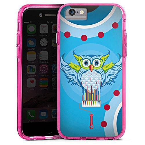 Apple iPhone 6s Bumper Hülle Bumper Case Glitzer Hülle Owl Eule Bunt Bumper Case transparent pink