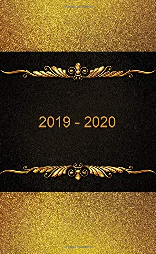 "2019 - 2020: Two-Year Monthly Pocket Planner: 24-Month Calendar , Notes and Phone book, U.S. Holidays, Size : 4.0"" x 6.5"", Hand Lettering book ( Cover: Gold on Black )"