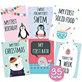 35 Baby Meilenstein-Karten mit hochwertiger Verpackung von Cozy Racoon (Sprache English) - Meilensteinkarten (für Junge und Mädchen) - Geschenk zur Geburt, Babyparty, Schwangerschaft