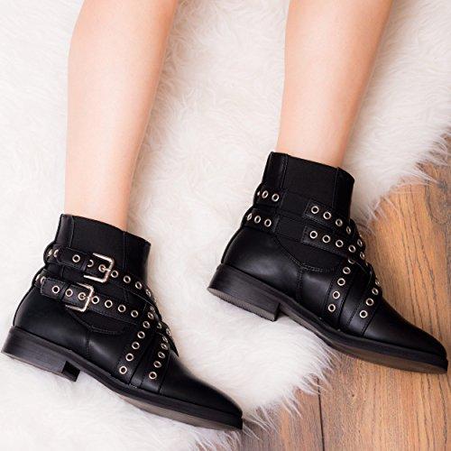 SPYLOVEBUY SPYDA Femmes Ajustable Boucle Plates Chelsea Boots Bottines Noir - Similicuir