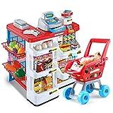Juguetes para niños Juego de simulación Supermercado grande Caja registradora Juguete Chica Mano Empuje Carro de la compra Conjunto Regalo de cumpleaños Educación temprana Juguetes educativos
