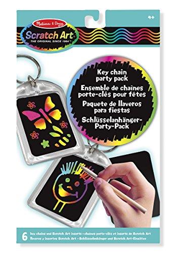 Melissa & Doug Scratch Art Key Chain Party Pack Activity Kit - 6 Key Chains