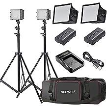 Neewer 2xLED 160 Panneau Lampe pour Vidéo Caméra Caméscope pour Canon Nikon Sony avec (2) CN-160 LED(2) Softbox(2) Li-ION Batterie pour Sony NP-F550/F570(1) USB Chargeur(2) Support(1) Sac