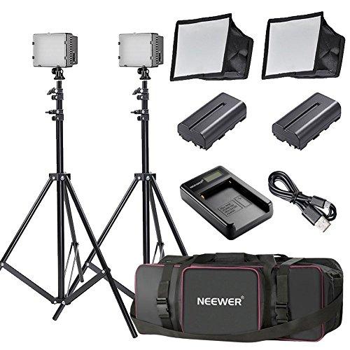 Neewer 2x 160 LED Licht Set Ultra hohe Energie Panel mit einstellbarer Digitalkamera /Video Kamera- Gehäuse für Canon, Nikon, Sony und andere Digitale SLR-Kamera Sony-video-gehäuse