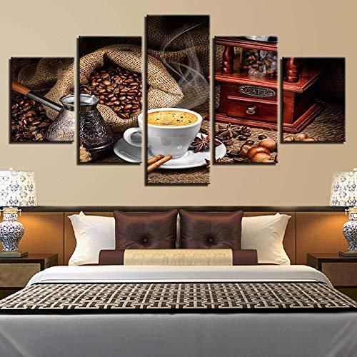 Modern Kunstdrucke 5 Stücke Wand Leinwand Gedruckt Kunst Poster Wohnaccessoires Geschenke 5 Stück Hd Druck Große Frühstücksnachtisch-Kakaopulver- 150 X 80 cm