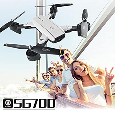 Hot Sale Drone,SG-700 Helicopter Quadcopter 2.4Ghz 4 CH 360° Hold WiFi 2.0MP Optical Flow Dual Camera For Kids Adults Beginners - Headless Mode, 3D Flip by Momola