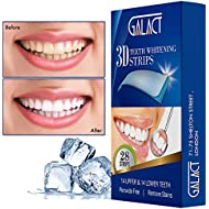 3D Teeth whitening strips by Galact -28 strips-Dental Enamel Safe Teeth Bleaching Treatment for Crystal Smile Non-Peroxide Whitener Kit Professional Remover of Teeth Stain for Double Elastic Gel Mint Flavor - Formulated by UK dentists