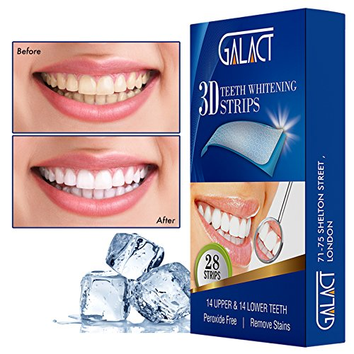 - 51Ry32VUeYL - 3D Teeth whitening strips by Galact -28 strips-Dental Enamel Safe Teeth Bleaching Treatment for Crystal Smile Non-Peroxide Whitener Kit Professional Remover of Teeth Stain for Double Elastic Gel Mint Flavor.
