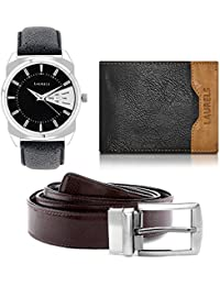 Laurels Men's Combo Pack of Watch, Wallet & Belt (Cp-Inc-202-Tsk-0206-Vt-0209)