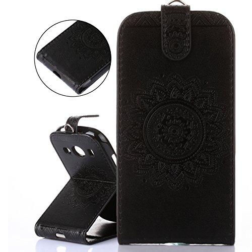 ISAKEN Compatibile con Samsung Galaxy Ace 4 SM-G357 Custodia[PU Pelle] [Shock-Absorption], Sbalzato Embossed Case Flip Portafoglio Wallet Caso con Supporto di Stand/Carte Slot/Chiusura - Nero