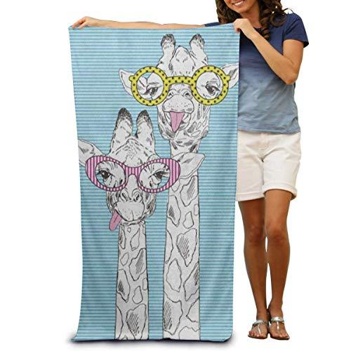 NUGHYFG Super weiches Badetuch Hipster Sonnenbrille Giraffe Kopf schnell trocknend Strandtuch Reisedecke Schwimmen Spa Handtuch Große Größe 80 cm x 130 cm