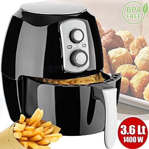 Friggitrice ad aria calda senza olio airfryer xxl 3.6 lt frigge cuoce arrostisce in modo naturale e salutare potenza 1400w cuisiner deluxe