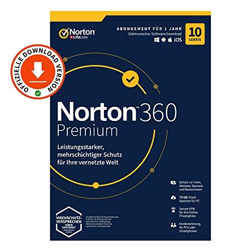 Norton 360 Premium 2020, 10-Geräte, Antivirus, Secure VPN unlimited, Passwort-Manager, PC/Mac/Android/iOS, Aktivierungscode per Email