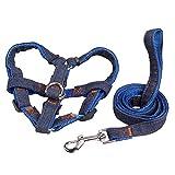 eizur Denim Hunde Geschirr Leine Set Nylon verstellbar Nachhaltige ohne Ziehen Sicherheit Seil Zugkraft Geschirr für Hunde Tiere Promenade Training