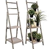 Wohaga Holz Leiterregal 40x119x37cm Pflanzentreppe Standregal Gartenregal Holzregal Regal klappbar Altweiß
