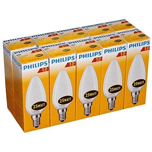 Preisvergleich Produktbild 10 x Philips Glühlampe Glühbirne Kerze 25W E14 MATT Glühbirnen Glühlampen Kerzen 25 Watt