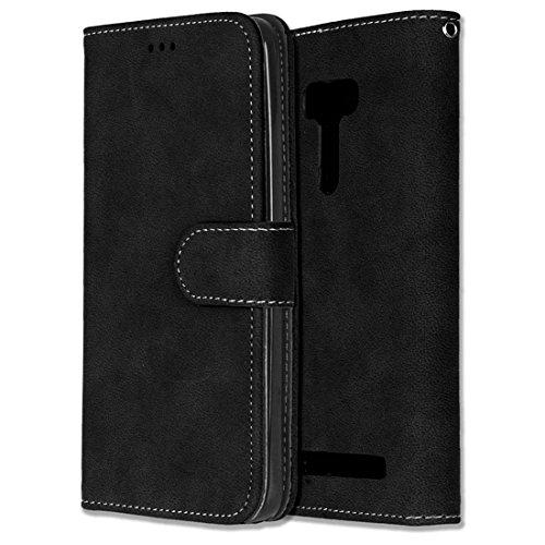 Asus ZenFone Selfie ZD551KL Hülle, Chreey Matt Leder Tasche Retro Handyhülle Magnet Flip Case mit Kartenfach Geldbörse Schutzhülle Etui [Schwarz]
