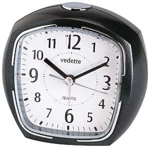 Vedette - VR10073 - Réveil Plastique - Quartz Analogique - Cadran Blanc - Silencieux - Répétition Alarme - Lumière