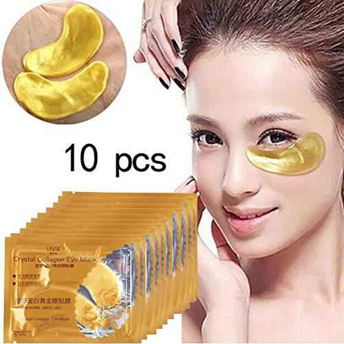 Augenmaske Yiitay 10 Stücke Gold Moisturizing Kollagen Eye Patches Anti-falten Entfernen Black Eye Care (Kollagen-patches)