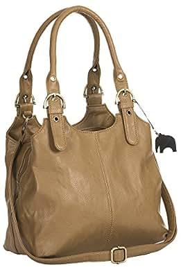 Big Handbag Shop BHBS - Sac à main pratique pour femme - Multiple poches de rangement et longue bandoulière adjustable ((2018) - Brun Khaki)