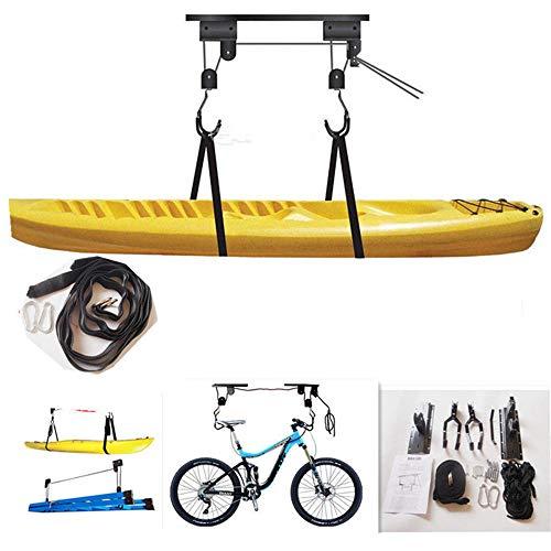 Esta suspensión de bicicleta puede soportar 132 libras y se puede utilizar para las carreras, bicicletas eléctricas, bicicletas de montaña y más para su almacenamiento o reparación. Por supuesto, kayaks y otros artículos grandes pueden también ser fá...