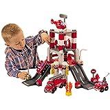 Unbekannt Feuerwehrstation, 3 Fahrzeuge und 1 Helikopter, mit Figur - Abrick Feuerwehr Auto Station Hubschrauber Spielzeug Feuerwache Fahrzeug Set
