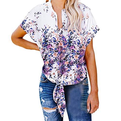 TOPSELD T Shirt Damen, Frauen SchließEn HüLsen Knopf Tie Knot Print Tops Sommer,Shirt Blusen