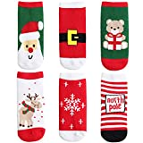 ANIMQUE Weihnachts-Sonderausgabe Babysocken Kinder Socken 6er Pack, Neugeborene Kleinkind Jungen Mädchen Winter Warm Wadensocken Dicke Weich, 1-3 Jahre