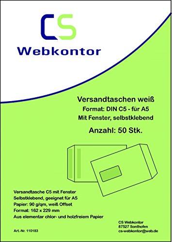 50 Stk. Versandtaschen DIN C5 (162x229 mm) weiß, mit Fenster, selbstklebend