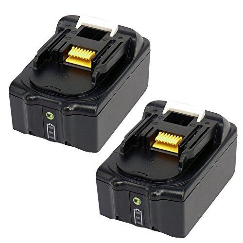 Preisvergleich Produktbild 2 Stück 18V 4.0Ah Li-Ion Ersatz Werkzeugakku für Makita Schlagbohrschrauber DHP453RF DHP459RTJ BHP453RHE DHP453RYLJ DHP459RMJ DHP458RMJ HP457DWE10 DHP458Z HP331DSAX3 DHP481RTJ DFS452Z Akku mit LED Ladestandsanze