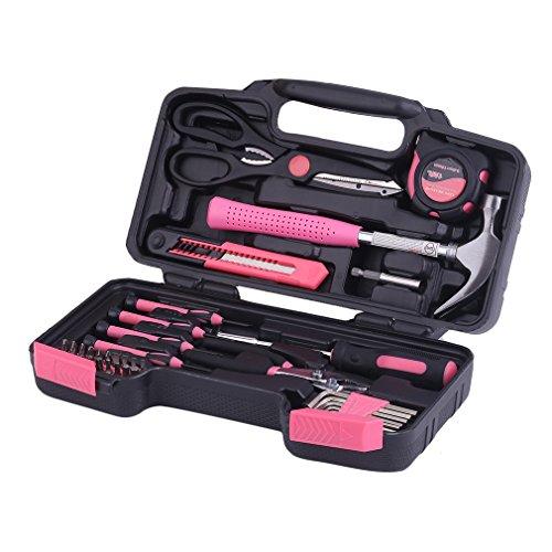 KinshopS Pinkfarbenes 40 Teilig Frauen Werkzeug Set Werkzeugkoffer in PINK Werkzeugkasten mit Aufbewahrungsbox
