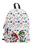 Bioworld NINTENDO Super Mario Bros. Jumping with All-over Tiled Characters Backpack Mochila tipo casual, 42 cm, 15 liters, Negro (Black)