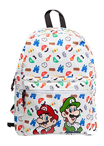 Bioworld NINTENDO Super Mario Bros. and Luigi with All-over Icons Pattern Print Backpack Mochila tipo casual, 42 cm, 15 liters, Blanco (White)