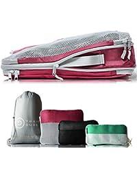 TRAVEL DUDE Packwürfel Set mit Kompression | Packing Cubes | Packtaschen Set & Gepäck Organizer für Rucksack & Koffer | Extra leichte Kleidertaschen