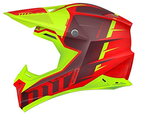 MT – Casco Cross SYNCHRONY SPEC GLOSS Rojo y Verde Flúor (S)