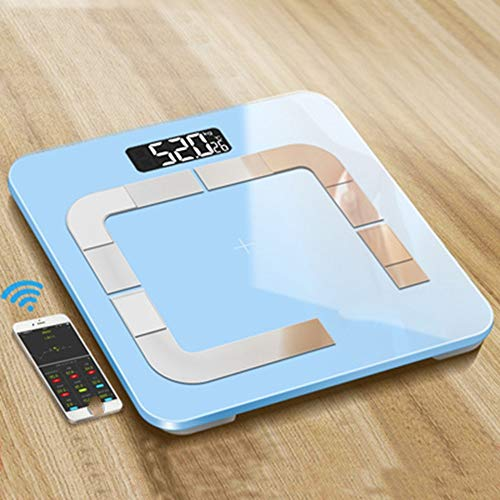 OPPP Báscula electrónica baño Slimme weegschaal vloer elektronische lichaamsvet schaal thuis Bluetooth vochtmeting weegschaal, A