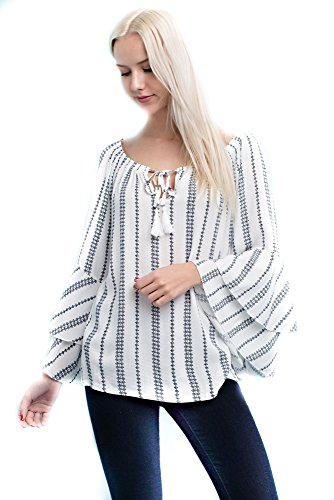 Solitaire Printed Double Bell Sleeve Top (Small, White/Navy) -