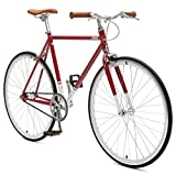 Critical Cycles Harper Single-Speed Fixed-Gear Urban Commuter Bike, Sangria, 49 cm, small
