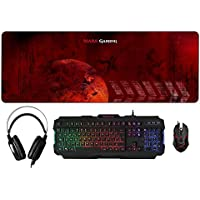 Mars Gaming MCPRGB – Pack iluminación RGB de Teclado, ratón, Auriculares y Alfombrilla Gaming (pulsación optimizada, Sensor óptico 4000 dpi, micrófono Integrado, Alfombrilla XXL), Color Negro y Rojo