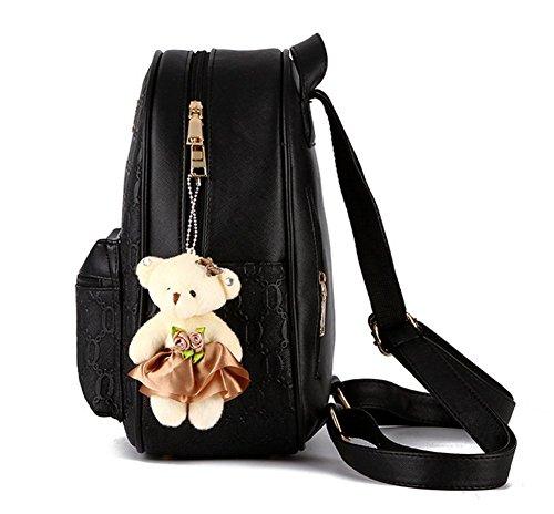 YAAGLE Damen Rucksack PU Leder Schultertasche Campus Uni Schultasche mit Anhänger Bärchen Backpack+Handtasche 2 Pcs -