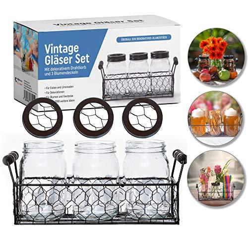 BenniCamp® Vintage Gläser Set + Dekokorb | Deko | Hochzeitstafel | Glasvasen-Set | Vintage Trinkgläser