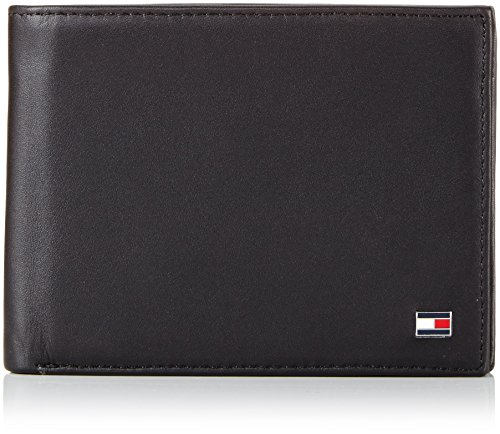 Tommy Hilfiger Herren ETON CC FLAP AND COIN POCKET Geldbörsen, Schwarz (BLACK 990), 13x10x2 cm