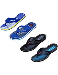 Indistar Men Flip Flop House Slipper And Sandal-Blue/Black/Blue/Blue
