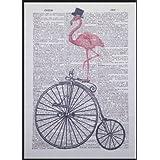 Vintage Rose Flamingo grand-bi page de dictionnaire Art mural Photo pour vélo