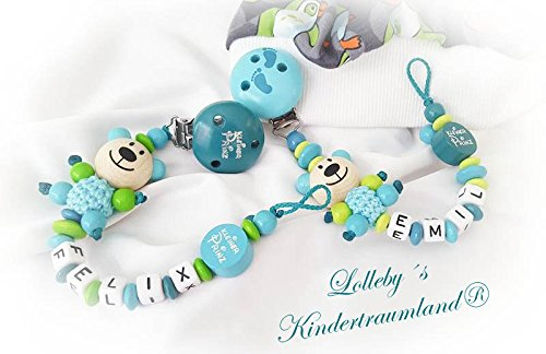 Baby Schnullerkette Teddy für Jungen mit Wunschnamen - Kinder - Geschenk zur Geburt, Taufe, Babyparty - (Zwillinge, Türkis, Lemon)