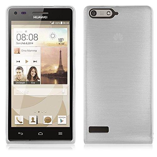 Cadorabo DE-105023 Huawei Ascend P7 Mini Handyhülle aus TPU Silikon in gebürsteter Edelstahloptik (Brushed) Silber