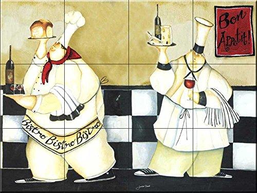 Fliesenwandbild - Bistro Chefs- von Jennifer Garant - Küche Aufkantung/Bad Dusche Jennifer Bistro