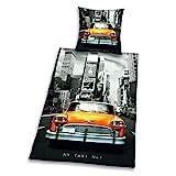 Herding 4459060050 Young Collection Parure de Lit pour Jeune avec Imprimé New York Taxi en Coton Multicolore 135 x 200 cm