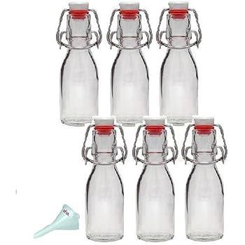 viva haushaltswaren 6 x kleine glasflasche 100 ml mit b gelverschluss aus porzellan zum. Black Bedroom Furniture Sets. Home Design Ideas