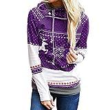 Auifor Weihnachtsfrauen-Elch-Schneeflocke-Druck übersteigt mit Kapuze Sweatshirt Pullover Bluse